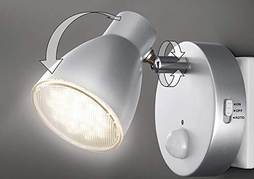 Trango Sensor LED de luz nocturna TG2635-014 en plata con función automática 230V con sensor de movimiento, luz de seguridad, lámpara de enchufe, lámpara de pared, luz de orientación, lámpara nocturna
