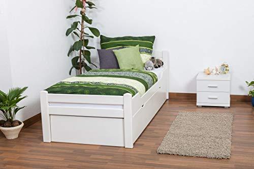 Kinderbett/Jugendbett Easy Premium Line K1/1h inkl. 2. Liegeplatz und 2 Abdeckblenden, 90 x 200 cm Buche Vollholz massiv weiß lackiert