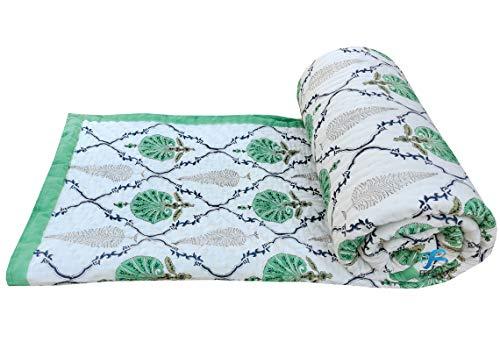 Feelcloud Jaipuri Razai - Colcha de cama doble decorativa étnica con estampado floral de algodón con relleno de Kantha indio, muy suave, decoración de dormitorio, manta tamaño king