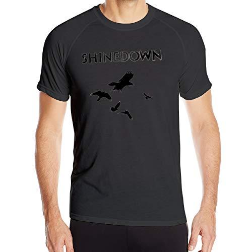UKFaaa Herren T-Shirt Shinedown The Sound Of Madness Dry-Fit Feuchtigkeitstransportierendes Active Athletic Performance Crew, Größe XL, Schwarz
