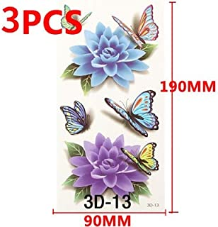 Temporary Tattoos Sticker Water Transfer Tattoos for Body Art Cool 3D Waterproof Temporary Tattoos for Girls Flower Tattoos (Color : Style D 3pcs)