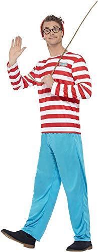 Smiffys Licenciado oficialmente Où est Charlie ? Costume, Rouge et blanc, avec haut, pantalon, lunettes et chape