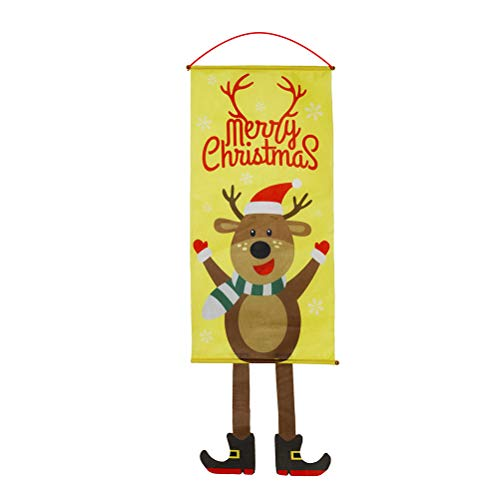 PTS Merry Christmas Door Sign Reindeer Pattern Hanging Flag Porch Door Decor for Christmas Xmas Home Party Hanging Props