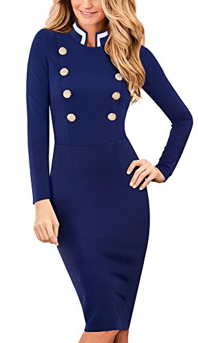 HOMEYEEl Collar Elegante del Soporte de la Vendimia de Las Mujeres de Manga Larga de Negocios Vestido B410(EU 36 = Size S,Azul Oscuro)