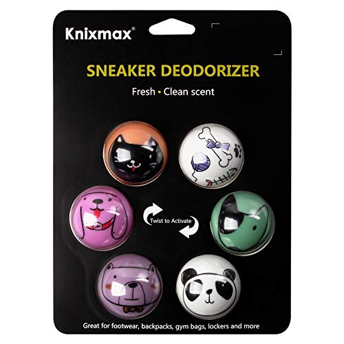 Knixmax Sneaker Deodorizer Balls Shoe Gym Bag Locker Car Air Freshener Creative Gifts for Friends Kids Adults Cute Animal Dog Cat Prints 6 Balls