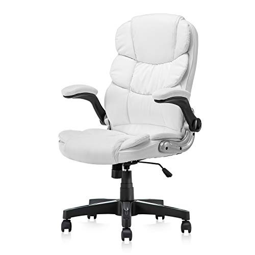 KERMS High Back Office Chair PU Leather Executive Desk Chair with Padded Armrests,Adjustable Ergonomic Swivel Task Chair with Lumbar Support (white2)