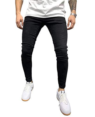 SHINFA メンズ ダメージ スキニー デニム パンツ ジーンズ ロングパンツ テーパード タイダイ ジーパン 美脚パンツ ブルー ブラック (2ブラック, 2XL)