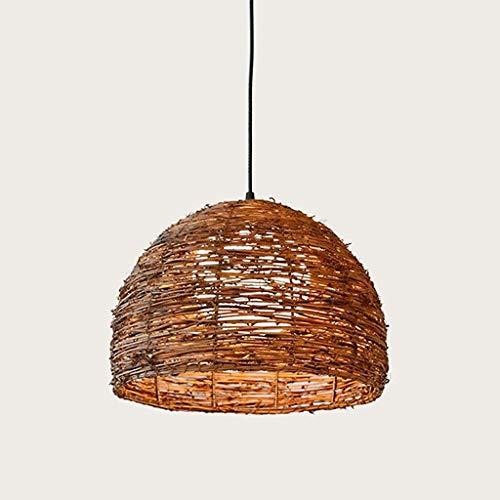 Lampadario industriale moderno Lampada a sospensione in rattan in stile pastorale vintage, illuminazione balcone cappello di paglia Tavolo da pranzo intrecciato a mano Lampadario moderno in legno