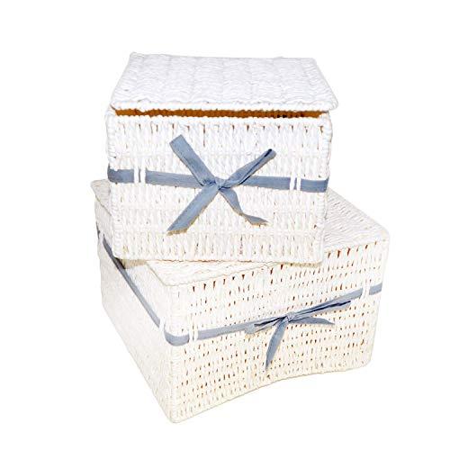 DRULINE 2er-Set Rattanbox Aufbewahrungsbox Aufbewahungskorb Kunststoffkorb mit Deckel aus Rattan | Maße (HxBxT): 17,5 x 25 x 25 cm | Blauanthrazit