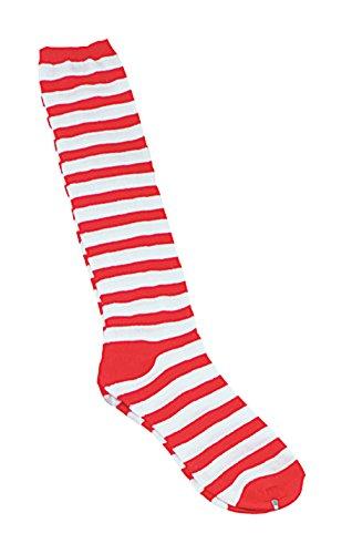 Bristol novità BA051clown calze a strisce, colore: Rosso/Bianco, taglia unica