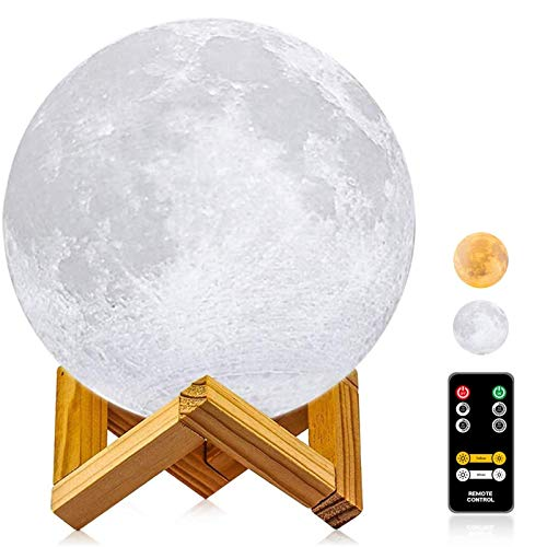 Moon Lamp, LOGROTATE 3D Printing LED Night Light Moon Light with Stand & Remote Control, Warm & Cool Two Colors and Dimmable & Time Setting, USB Rechargeable for Kid Lover Birthday Day Gift (4.7 inch)