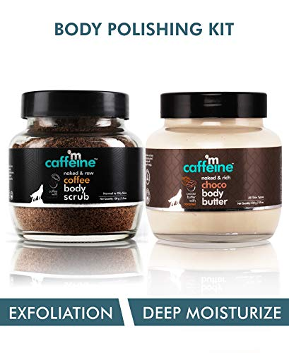 mCaffeine Body Polishing Kit | Deep Moisturizing, Tan Removal | Body Scrub, Body Butter | All Skin | Paraben & Mineral Oil Free