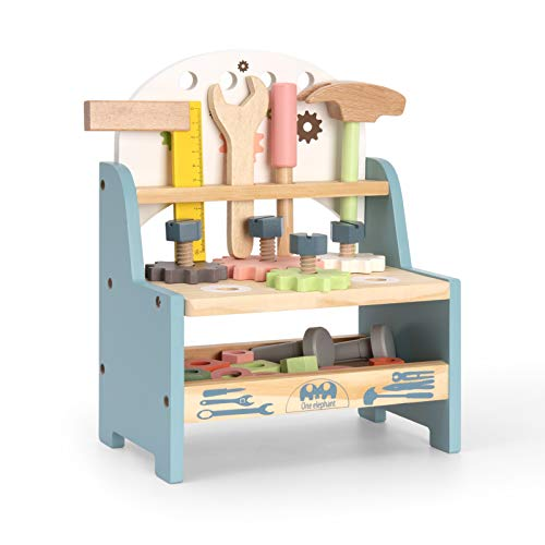 ROBUD Mini Wooden Play Tool Workbench Set for Kids Toddlers - Construction Toys Gift for 3 4 5 Years Old