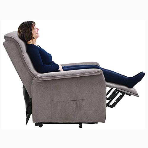 FMXYMC Power Lift Recliner Chair for for Elderly, Heater Massage Chair with Wheels, Single Electric Rise Sofa for Living Room, Ergonomic Modern Lift Reclining,Gray
