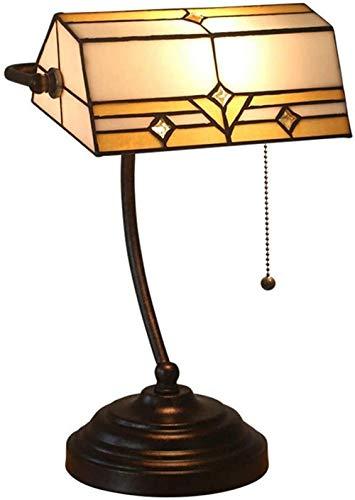 Base en zinc antique pour bureau de salon à côté de la chambre de bureau Lampe de Bureau Lampe Banquier en verre teinté baroque traditionnel avec interrupteur à chaîne