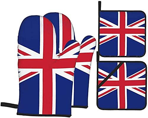 Ofenhandschuhe & Topflappen, Motiv: Flagge des Vereinigten Königreichs, 4 Stück, beständige heiße Pads mit rutschfesten Polyester-Handschuhen für Küche, Kochen, Backen, Grill