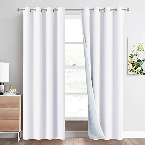 "NICETOWN Sound Barrier 100% Blackout Divider Curtains 84"", Noise, Cold and Heat Blocking Drapes with Felt Fabric Lining for Noise Reducing/Nursery/Daytime Sleep/Bedroom (White, 2 PCs, 52"" Wide)"