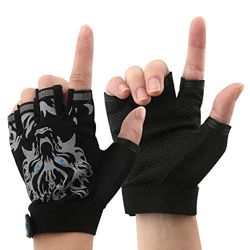 Boy Girl Child Children Kid Half Finger Fingerless Short Shock-absorbing No-Slip Pro Cycling Gloves Mitten for Cycling MTB Exercise Skate Skateboard Roller Skating Other Sports (Black wolf)