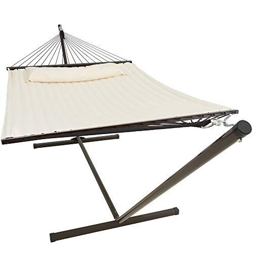 VITA5 Hamaca con estructura para exteriores, hasta 2 personas / 200 kg, 190 x 140, cojín extraíble, resistente a la intemperie y a los rayos UV (beige)