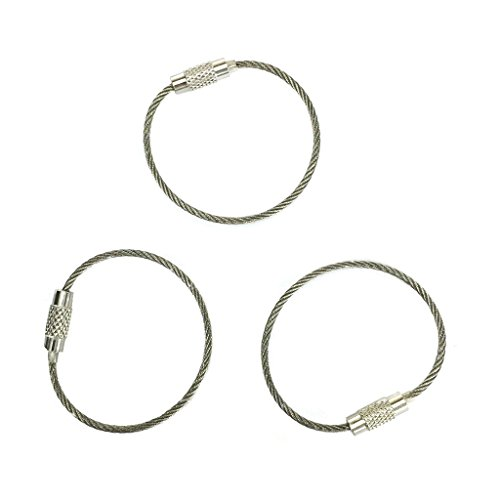 Everyman Cable Key Rings, Heavy-Duty 100% Stainless Steel Keyrings - Standard Stainless Finish, 3-Pack
