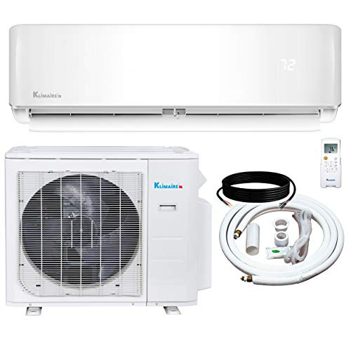Klimaire 12,000 BTU KSIV 19 SEER Ductless Mini-Split Inverter Air Conditioner Heat Pump System with 15-ft Installation Kit and Wall Bracket 115V