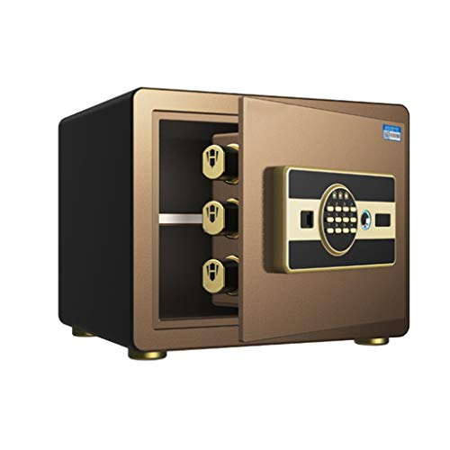 Meubelkluis veilige intelligente vingerafdruk met wachtwoord, veilig voor thuis en op kantoor, voor sieraden, veilige nachtkastje, alle stalen veiligheidsSafe 35 * 25 * 25cm bruin