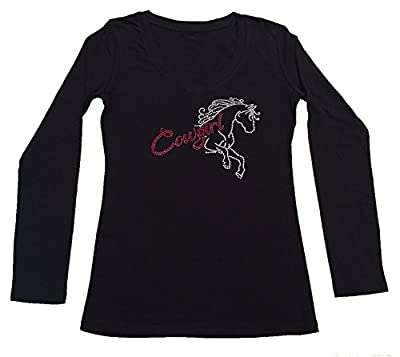 Women's T-Shirt with Pink Cowgirl with Horse in Rhinestones (3X, Black Long Sleeve)