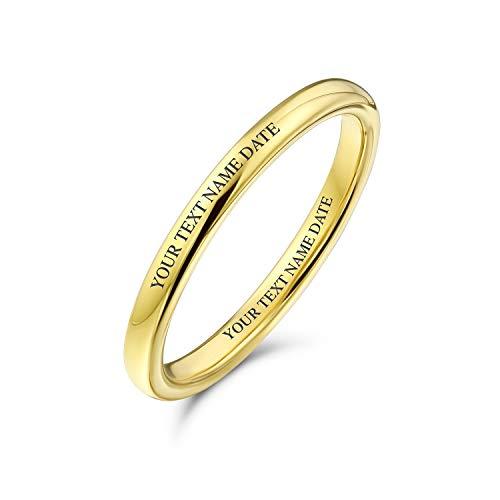 Bling Jewelry Personalizzato Semplice impilabile Dome Coppie Titanio Fede Nuziale lucidato 14K Oro Placcato Anello 2MM Personalizzato inciso