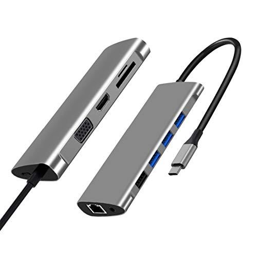 USB C Hub 11 en 1 Adaptador Tipo C con HDMI VGA PD Ethernet RJ45, 3 USB 3.0, 1 USB 2.0, Micro SD/TF, Audio para Macbook Pro y más Dispositivos USB C