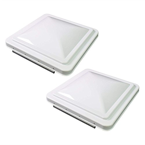 "RV Roof Vent Lid Cover Universal Replacement, 14"" White Compatible with Camper Trailer, Motorhome - 2 Pack"