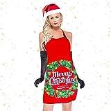 Demason 2 Stück Weihnachtsschürze Kochschürze Latzschürze mit Weihnachtsmann Küchenschürze/Grillschürze/BBQ Schürzen Weihnachtsgeschenk für Erwachsene und Kinder 58 cm x 71 cm - 4