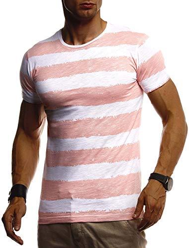 Leif Nelson Herren Sommer T-Shirt Rundhals Ausschnitt Slim Fit Baumwolle-Anteil Cooles Basic Männer T-Shirt Crew Neck Jungen Kurzarmshirt O-Neck Kurzarm Lang LN8319 Lachsrosa Large