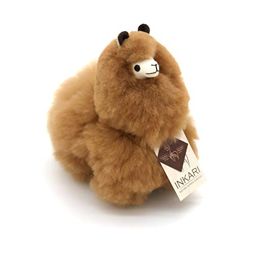Alpaka Plüschtier aus echter Alpaka-Wolle, handgefertigte Unikate, fair und nachhaltig produziert, weiß und braun, großes Stofftier, hypoallergen (S (23cm),...