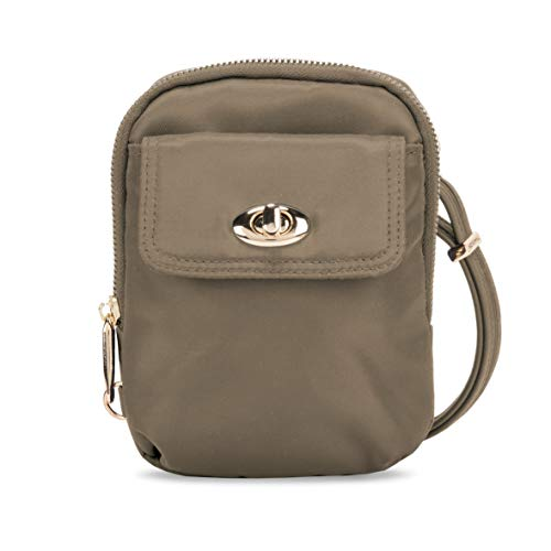 Travelon Women's Anti-Theft Tailored Crossbody Phone Pouch, Sable, One Size