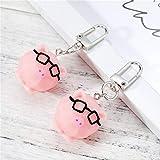 XKMY Llavero para manualidades con diseño de cerdito rosa para mujeres y niñas, joyería de Corea, bonito animal para coche, llavero (color: dos cerdos)