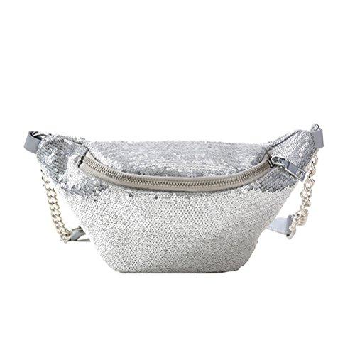 BESTOYARD Mode Taille Tasche Shiny Bauchtasche Taille Tasche Sporttasche Cross Body Handtasche für Frauen Mädchen