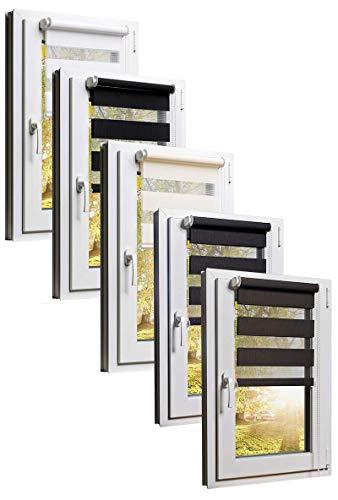 TEXMAXX Doppelrollo Klemmfix ohne Bohren 60 x 220 cm ( Stoffbreite 56 cm ) in Weiss - Klemmfix Rollo - Rollos für Fenster ohne bohren