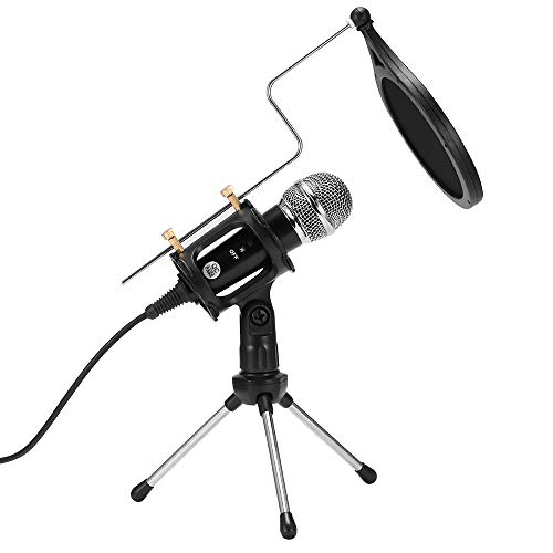 PopHMN PC Microfoon, Opname Microfoon Kit Set met Statief Stand Anti-Spray Voorruit voor Podcast Recording Online Chatting 3.5mm Stereo