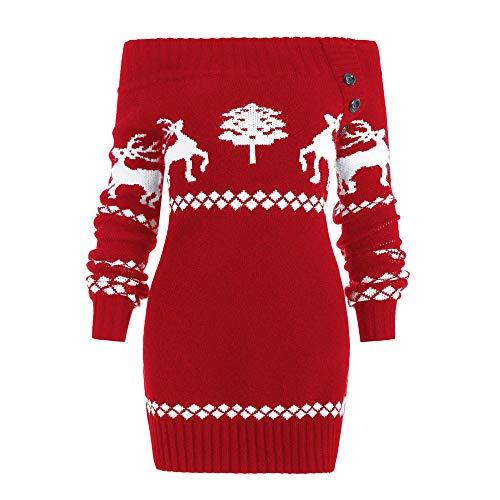 Hiroo Maglione Donna Natalizio Vintage Pullover Renna Di Natale Maglione Donna Invernale Elegante Sweatshirt Casuale Sottile Sportiva Camicetta Tops Jumper Maglieria
