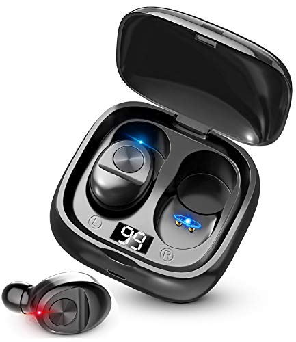Bluetooth ワイヤレスイヤホン LEDディスプレイイヤホン Hi-Fi 高音質 最新Bluetooth5.0+EDR搭載 3Dステレオサウンド 完全ワイヤレス イヤホン 自動ペアリング ブルートゥース イヤホン AAC対応 左右分離型 Siri対応 音量調整可能 超大容量充電ケース付き 電池残量インジケーター付き iPhone/ipad/Android適用