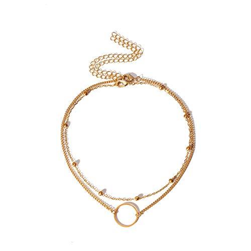 Xynhed gelaagde gouden kleur cirkel bedeltje Choker ketting koper kralen dun sleutelbeen ketting korte hals kraag vrouwen sieraden