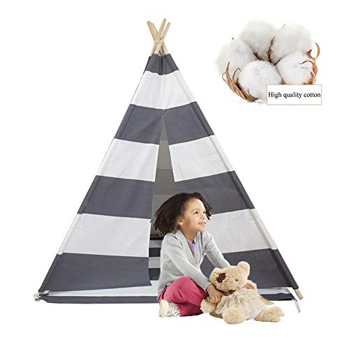 MXYPF Kids Canvas Teepee Tent - Natural Cotton Foldable Gray Stripe Play Tents with Carry Bag for Girls Boys Toddlers Indoor/Outdoor