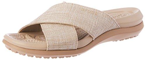 Crocs Women's Capri Shimmer Xband Sandal, Oyster/Cobblestone, 10 M US