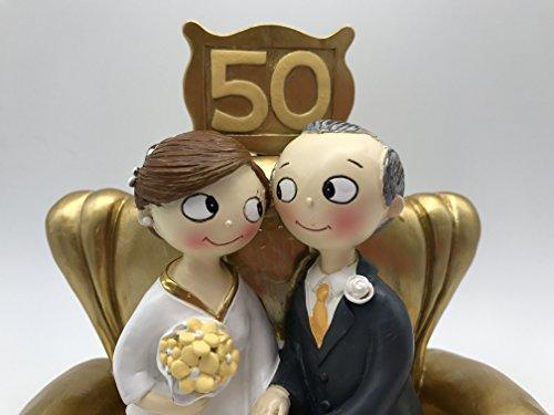 Mopec Pop&Fun Y500M- Figura para tarta de bodas de oro, 50 aniversario, 16x16,5cm, color dorado oscuro. Pelo moreno y canoso