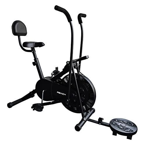 Reach AB-110 Air Bike Exercise Fitness Gym Cycle with Moving or Stationary Handle Adjustments for Home - 3 Options (Normal Seat | Back Support Seat |Twister) (Back Support Seat & Twister)