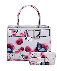 Handbag Size: W: 33 X H: 25 X D: 17 CM Purse Size: W: 20 X H: 9.5 CM Patent Poppy Flower & Butterfly Print With Belt Detail Top-Handle Bag With Purse Set, this set includes a top-handle bag and a purse. Featuring dual handles, also includes a detacha...