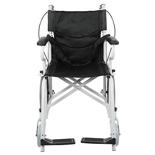 FTVOGUE- Rollstuhl, Schwarz Faltrollstuhl Reiserollstuhl mit Handbremse für Familien und Pflegeheime, Laden 120kg, 85 x 73 x 55 cm