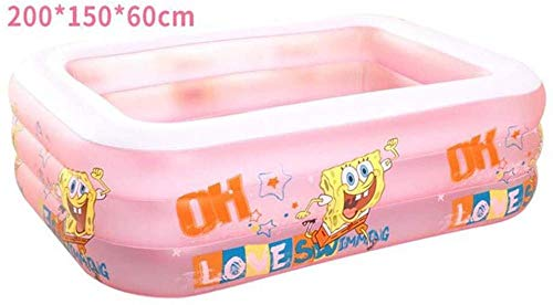 Piscina Inflable PVC Giant Family Kid Lounge Pool Tres Anillos Summer Water Party 200x150x60cm (Color: Azul)-Rosado