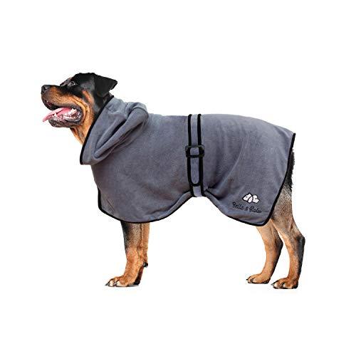 Bella & Balu Hundebademantel aus Mikrofaser + Pfotentuch – Saugfähiger Hunde...