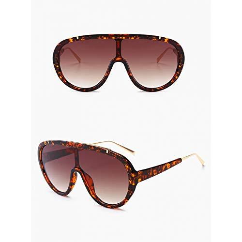 SXRAI Gafas de Sol de una Pieza para Mujer, Gafas de Gran tamaño para Hombre, Gafas de Sol Blancas Marrones para Hombre Uv400,C3